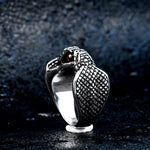 Snake Ring <br> The Pearl Of The Cobra (steel) - The Vipers House