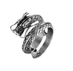 japanese serpent dragon snake ring steel