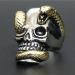 handcrafted skull and and snake ring