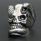 skull head ring with a snake