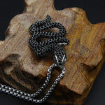 silver black snake necklace