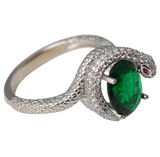 snake ring green and silver color