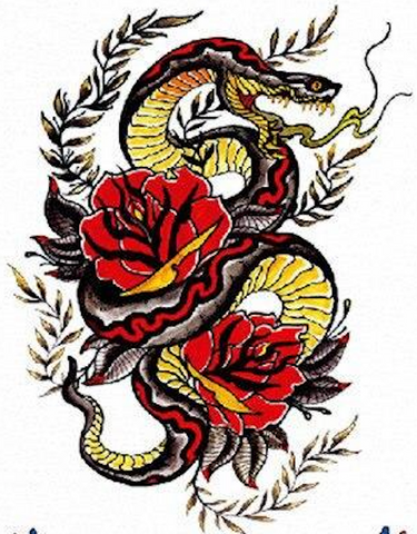 Temporary Snake Tattoo Rose