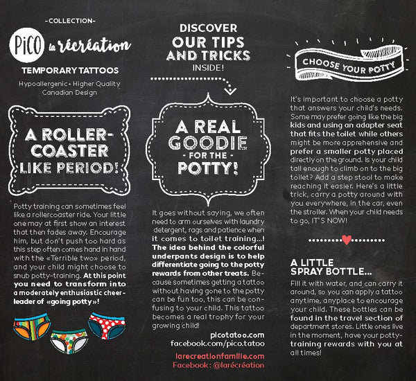 PiCO Tatoo, temporary tattoos- La Récréation/ slips