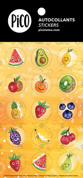 Autocollants PiCO Tatoo, les fruits en folie. Fruits, stickers, PiCO, Tattoos