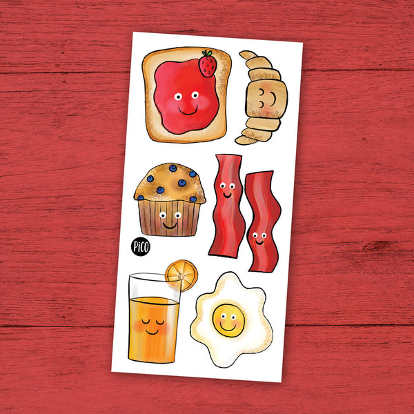 Brunch déjeuner bacon tatouages temporaires PiCO temporary tattoos brunch breakfast bacon