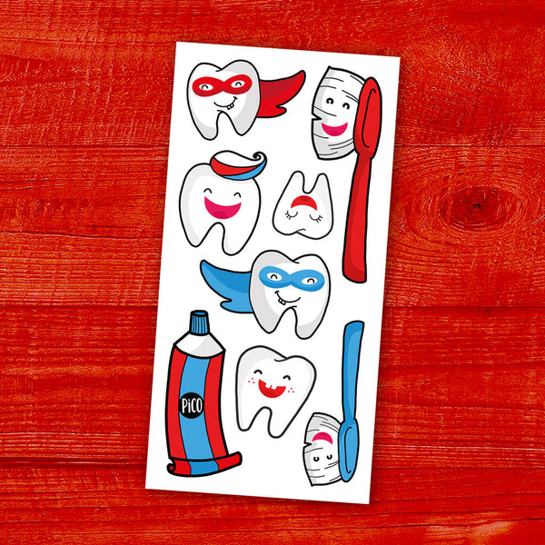 brosse tes dents tatouages temporaires PiCO temporary tattoos brush your teeth