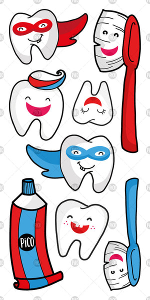 PiCO Tatoo, temporary tattoos brush your teeth. Dentist and mom helpers.