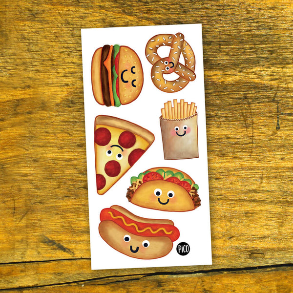 hot dog tatouages temporaires pico temporary tattoos pizza pretzel tacos