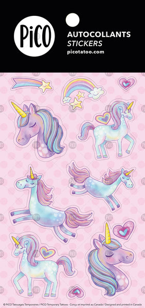 Autocollants PiCO Tatoo, les licornes, licornes, licorne, autocollant, stickers, unicorns, unicorn sticker.