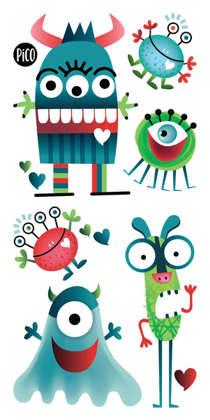 PiCO Tatouages Temporaires, Monstres, Halloween, PiCO Temporary Tattoos, Monsters, Party