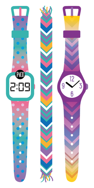 PiCO Tatoo, pink watch temporary tattoos.