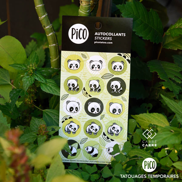 Autocollants PiCO Tatoo, Les Pandas sympathiques, PiCO tatoo, temporary tattoos, panda, stickers.