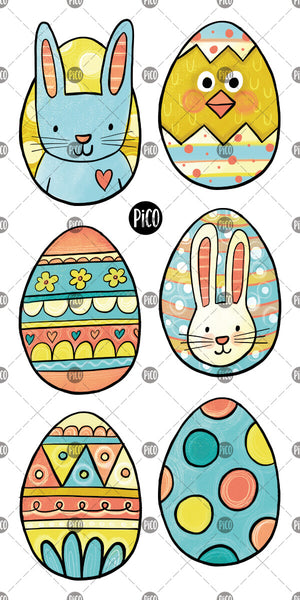 Easter eggs and bunny temporary tattoos,  PiCO Tatoo.