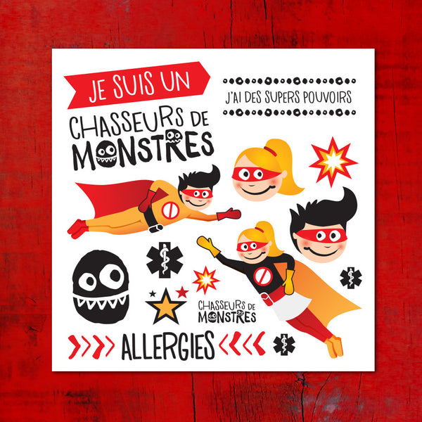 PiCO Temporary tattoos, super hero, allergies, allergy, PiCO tatouages temporaires super héros chasseur de monstres