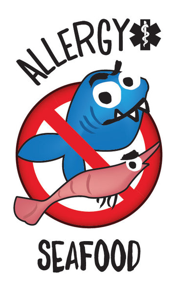 PiCO Tatoo, tatouages temporaires pour enfants ayant des allergies alimentaires aux poissons et fruits de mer. Fish and shellfish food allergy temporary tattoos.