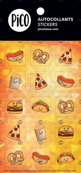 hot dog tatouages temporaires PiCO, temporary tattoos, pizza, pretzel, tacos, autocollants, stickers