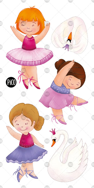PiCO Tatoo, beautiful ballerinas temporary tattoos.