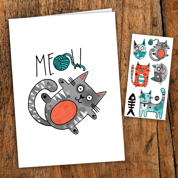 PiCO Tatoo, tatouages temporaires, carte de souhaits, chat, cat, card, birthday card, cats tattoos.