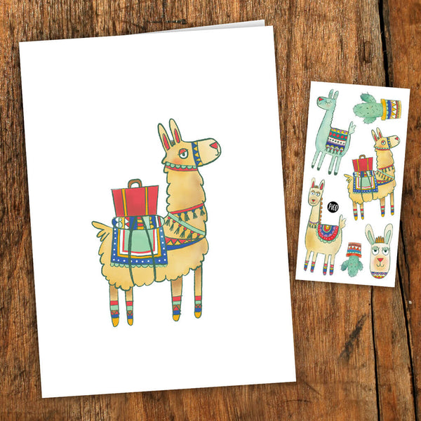 alpaga carte de souhait tatouages temporaires PiCO temporary tattoos greeting card alpaca