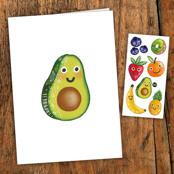 fruits avocat carte de souhait tatouages temporaires PiCO temporary tattoos greeting card avocados fruits