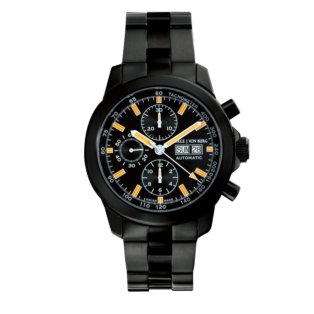 MGJVB Men's Sport II Black Stainless Steel Chronograph Watch