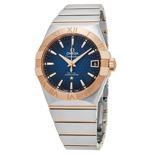 Omega Men's Constellation Blue Dial 18k Rose Gold Watch