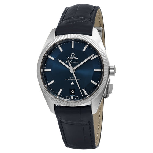 Omega Men's Constellation Globemaster Blue Leather Strap Swiss Automatic Watch