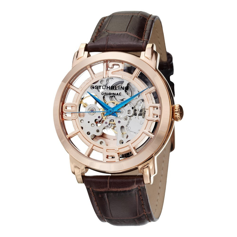 Stuhrling Winchester 44 Automatic Rose Tone Dial Leather Strap Men's Watch