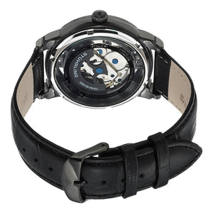 Stuhrling Winchester 44 Automatic Black Dial Leather Strap Men's Watch
