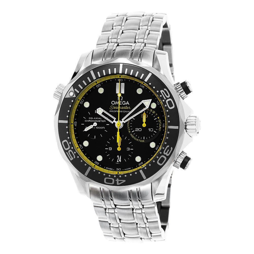Omega Men's Seamaster Diver 300M Black/Yellow Dial Chronograph Automatic Watch