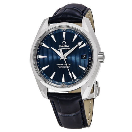 Omega Men's Seamaster AquaTerra 150M Blue Dial Leather Strap Automatic Watch