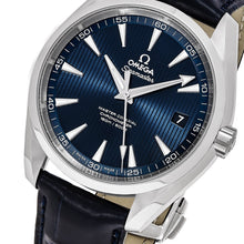 Load image into Gallery viewer, Omega Men's Seamaster AquaTerra 150M Blue Dial Leather Strap Automatic Watch