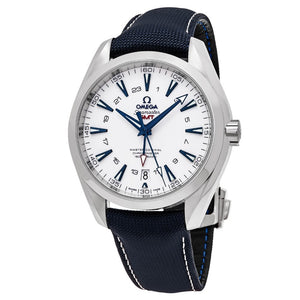 Omega Men's Seamaster Aqua Terra 150M Blue Fabric Strap GMT Automatic Watch