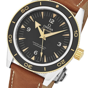 Omega Men's Seamaster 300M Leather Strap Automatic Watch