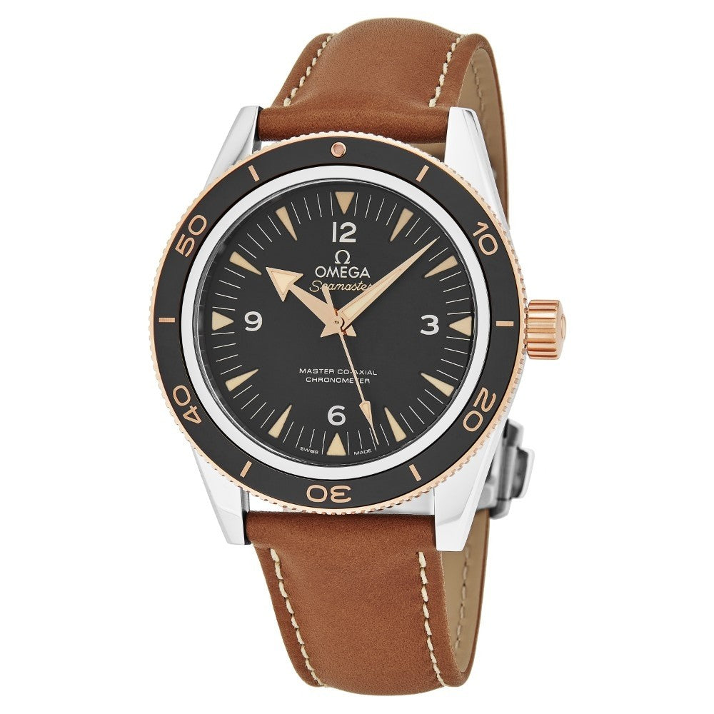 Omega Men's Seamaster 300M Leather Strap Sedna Gold Automatic Watch