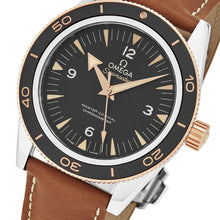 Load image into Gallery viewer, Omega Men's Seamaster 300M Leather Strap Sedna Gold Automatic Watch