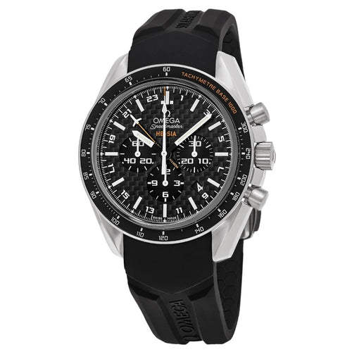 Omega Men's Speedmaster HB-SIA Solar GMT Chronograph Black Rubber Strap Watch