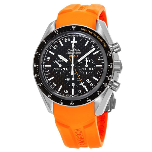 Omega Men's Speedmaster HB-SIA Solar GMT Chronograph Orange Rubber Strap Watch