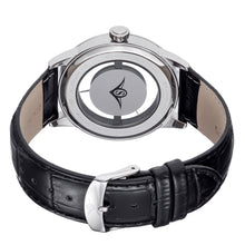 Load image into Gallery viewer, Stuhrling Aviator 650 Quartz Transparent Dial Black Leather Strap Silver Men's Watch