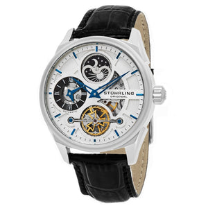 Stuhrling Special Reserve 657 Automatic Skeletonized Dual Time Silver Tone Case Men's Watch