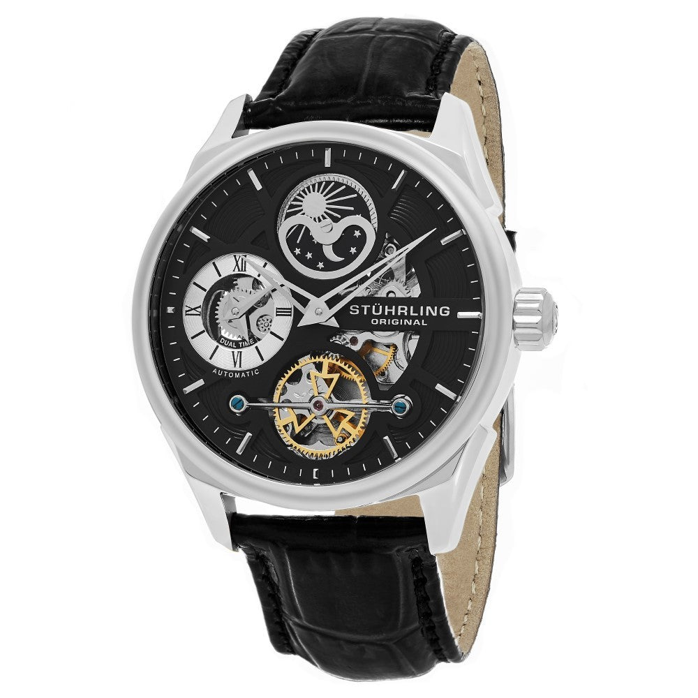 Stuhrling Special Reserve 657 Automatic Skeletonized Dual Time Black Case Men's Watch