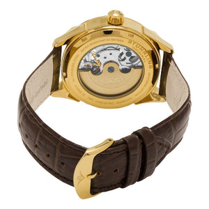 Stuhrling Special Reserve 657 Automatic Skeletonized Dual Time Gold Tone Case Men's Watch