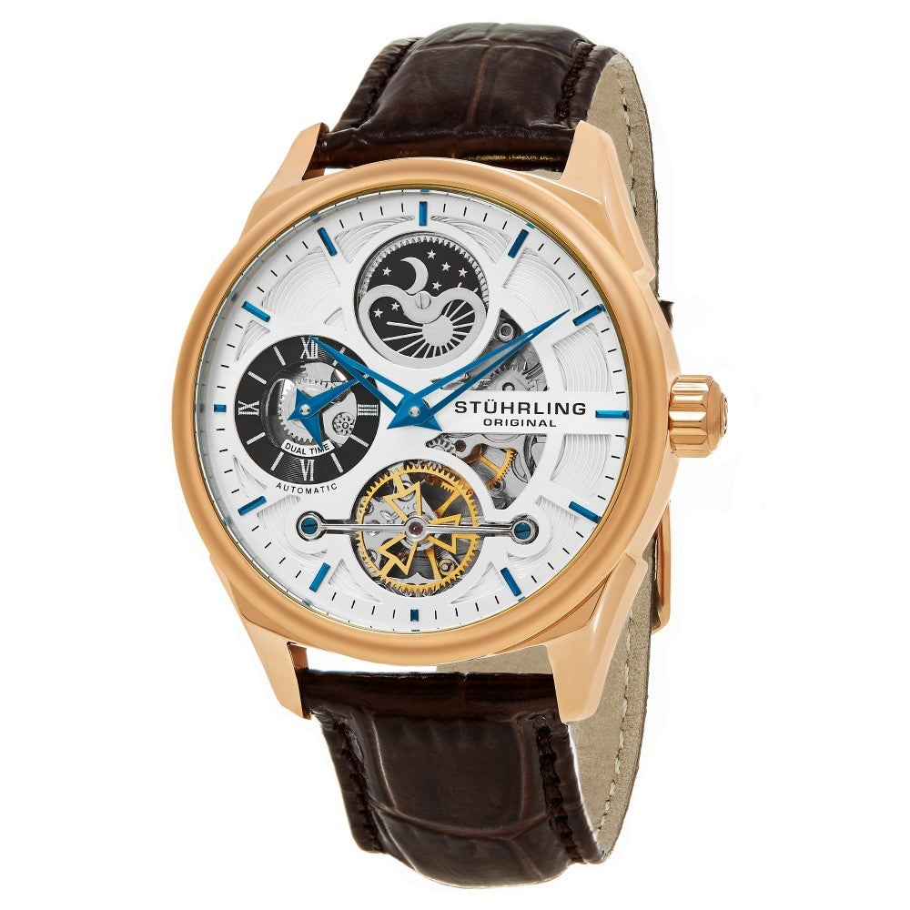 Stuhrling Special Reserve 657 Automatic Skeletonized Dual Time Rose Tone Case Men's Watch