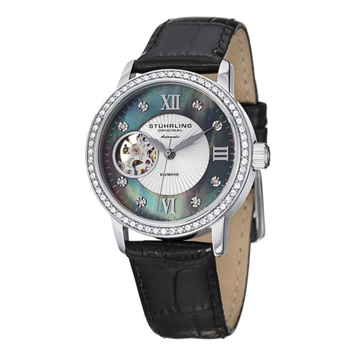 Stuhrling Memoire Automatic Black Mother-of-Pearl Dial Black Leather Strap Women's Watch