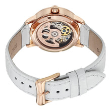 Load image into Gallery viewer, Stuhrling Memoire Automatic White Mother-of-Pearl Dial White Leather Strap Women's Watch
