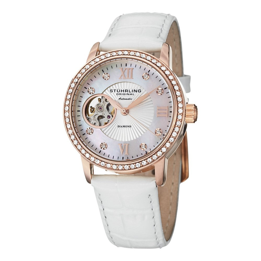 Stuhrling Memoire Automatic White Mother-of-Pearl Dial White Leather Strap Women's Watch