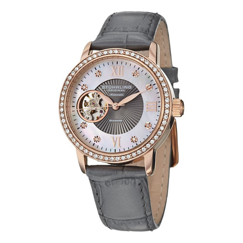 Stuhrling Memoire Automatic White Mother-of-Pearl Dial Grey Leather Strap Women's Watch