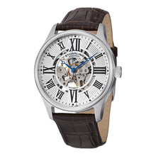 Load image into Gallery viewer, Stuhrling Atrium Automatic Silver Tone Case Brown Leather Strap Men's Watch