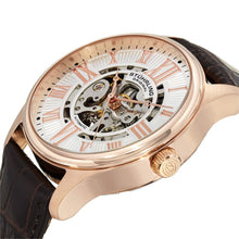 Load image into Gallery viewer, Stuhrling Atrium Automatic Rose Tone Case Brown Leather Strap Men's Watch